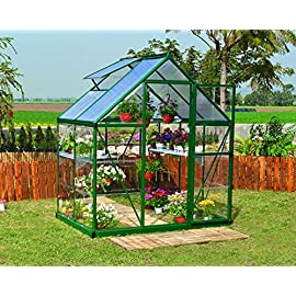 Palram HG5504 Hybrid Hobby Greenhouse, 6' x 4' x 7', Silver 4 Virtually unbreakable 4 mm twin-wall polycarbonate roof panels block up to 99.9% of UV rays and diffuse sun light eliminating the risk of plant burn and shade areas Crystal clear polycarbonate side panels provide 90% light transmission Rust resistant aluminum frame with 84 sq. feet of growing space