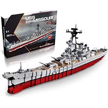 Amazon Com Infunity Ww2 Toys Uss Missouri Bb 63 Battleship Model 33 Inches 2631 Pieces Building Blocks Compatible With Major Brand Toys Games