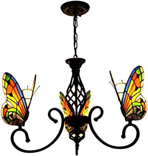 Home Equipment 3-Light Ceiling Light Fixture Style Rustic Pendant Lighting Stained Glass Butterfly Shade for Kitchen Islan...