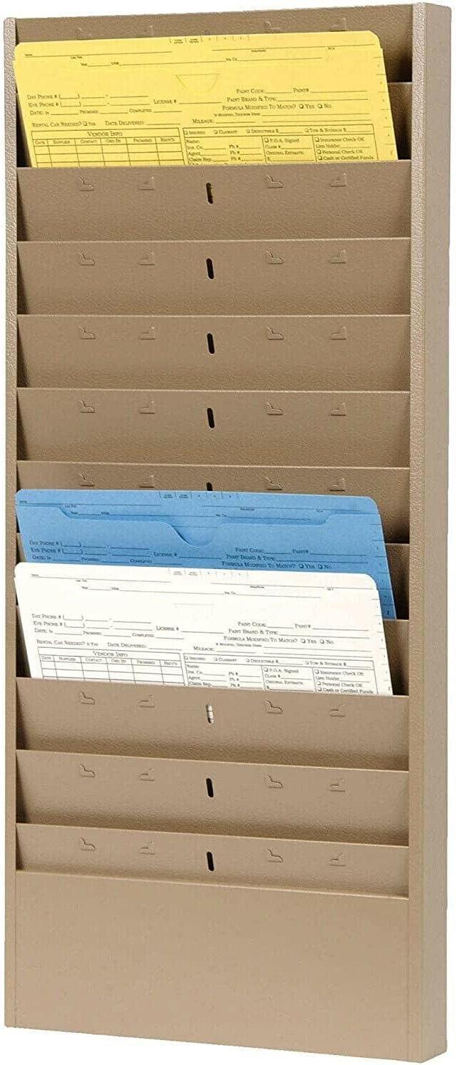 12 Slot Metal Wall Mount File Rack Folder - Organizer Tan Holder Max 67% OFF Las Vegas Mall