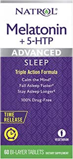 Natrol Melatonin + 5 HTP Advanced Sleep Time Release Bi-Layer Tablets, Triple-Action Formula, Calm the Mind, Helps You Fal...
