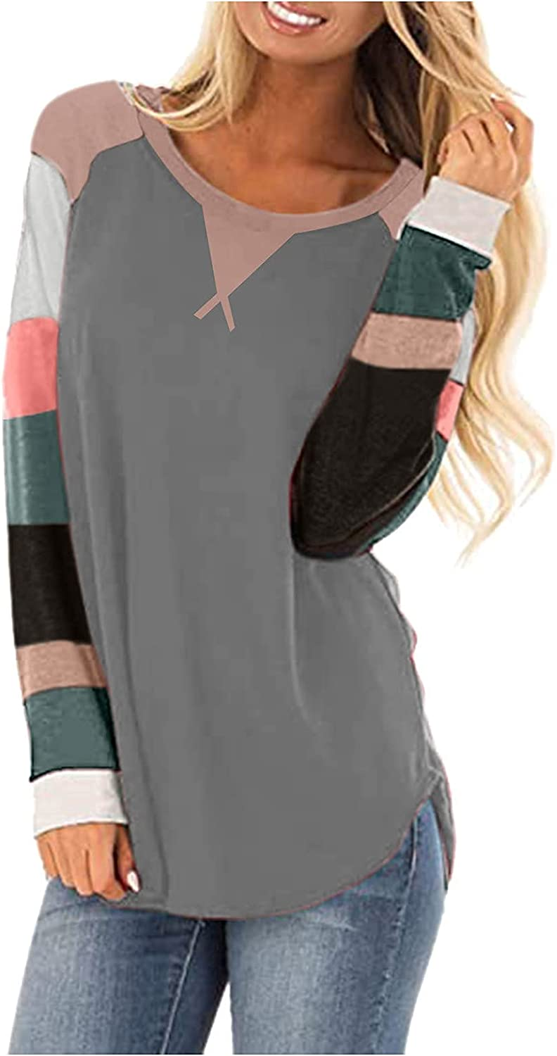 Long Sleeve Shirt for Women Fashion Tshirt Round Neck Sweatshirt Comfy Soft Blouse Patchwork Casual Tops