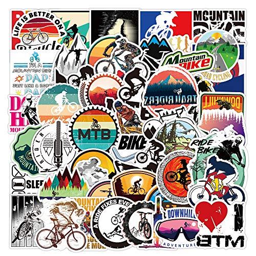 RGBEE Mountainbike Sticker 50 Stücke, Wasserfeste Vinyl Sticker Set für Laptop, Koffer, Helm, Motorrad, Skateboard, Snowboard, Auto, Fahrrad, Computer, Graffiti MTB Aufkleber Decals