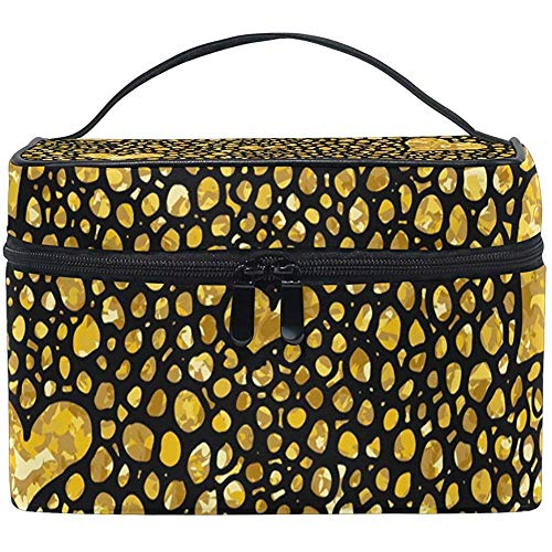 Sac cosmétique Golden Hearts Travel Makeup Organizer Bag Portable Train Case pour Femmes Filles