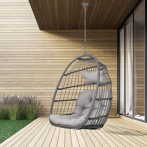 Swing Egg Chair Without Stand Indoor Outdoor Wicker Rattan Patio Basket Hanging Chair with UV Resistant Cushions Aluminum Frame 265lbs Capaticy for Bedroom Balcony Patio (Without Stand)