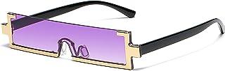 MRJHS Rectangle Sunglasses Fashion y2k Glasses 90s Square Rimless Eyewear UV400 Cool Classic Popular