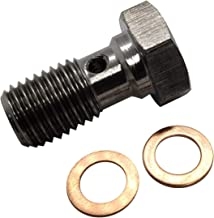 M10x1.25 Stainless Steel Banjo Bolts Brake Fitting Adapter Universal with M10 Copper Washers, Single Banjo Bolt M10-1.25 Metric Thread 20mm Length