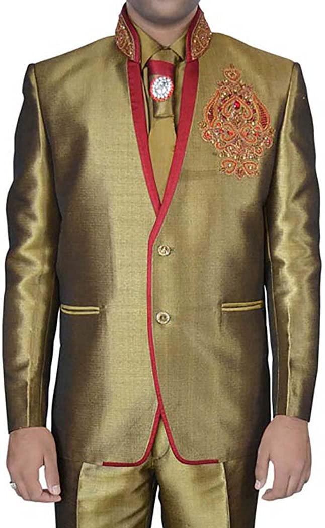 INMONARCH Mens Golden Linen Jute 5 pc Jodhpuri Suit Designer JO0317