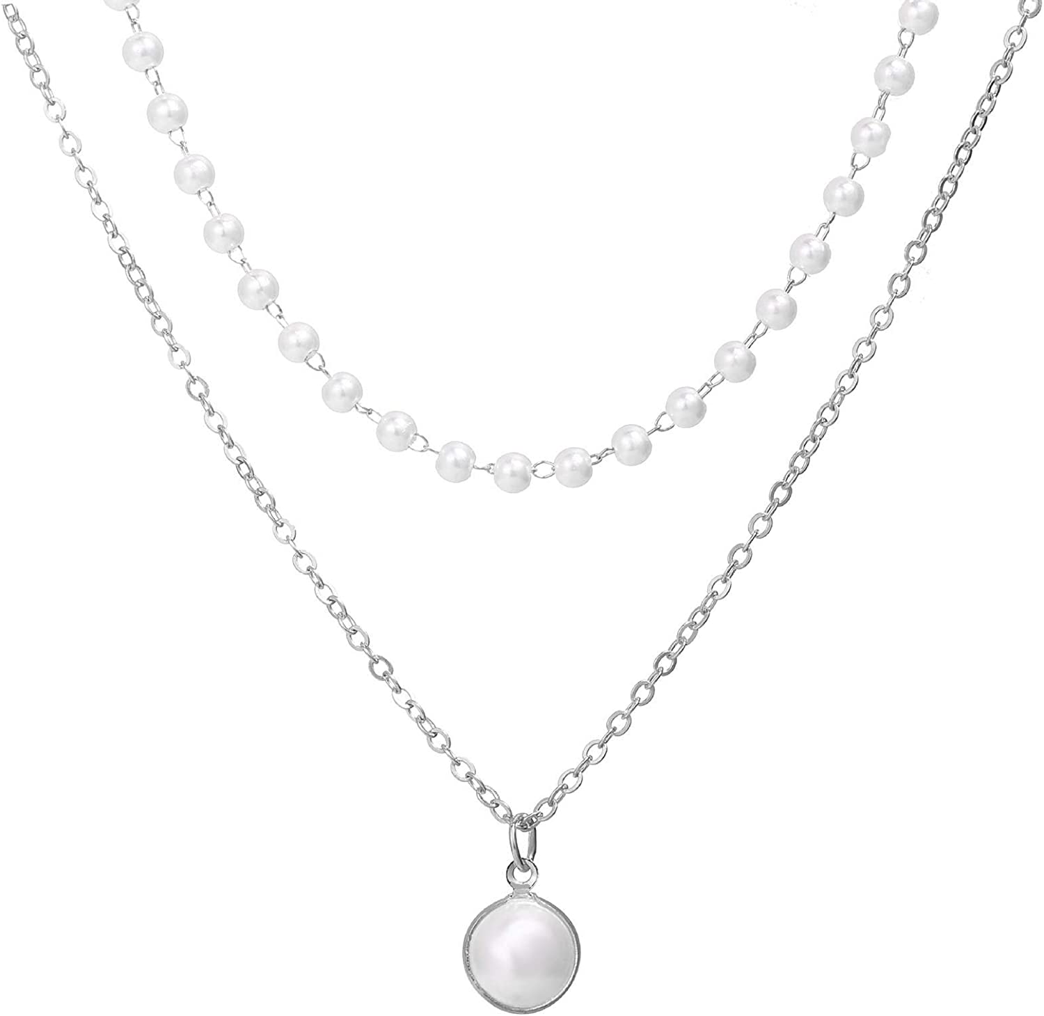 Pearl Necklace,Pearl Necklace Double-layer Simple Alloy Female Clavicle Chain for Party - Golden