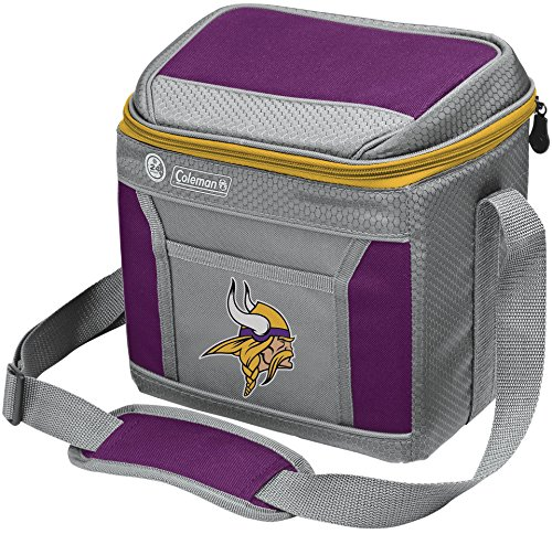 Coleman NFL Soft-Sided Insulated Cooler and Lunch Box Bag, 9-Can Capacity, Minnesota Vikings