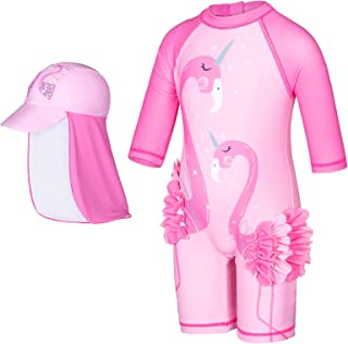 Pink Cute Unicorn One Piece Sun Protection Long Sleeve Swimsuit Bathing Suit with Hat for Toddler Kid Girls 1-7 Years