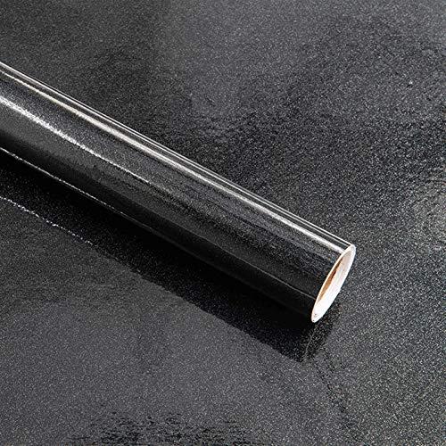 jidan Pegatina de pared para papel pintado de color negro brillante, autoadhesiva, para decoración de muebles, vinilo, papel de contacto, pegatinas de bricolaje (color: negro, tamaño: 10 x 55 cm)