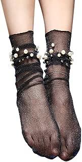 DZT1968 Women Thin Ruffle Fishnet Ankle High Socks pearl bead Short Socks
