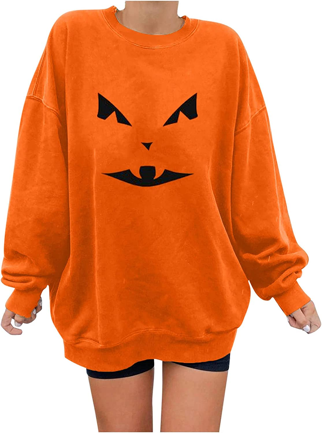 Fashion Pullover for Women's Blouse Tops Casual Wool Liner Long Sleeve Halloween Printed Tee Shirt Sweatshirts