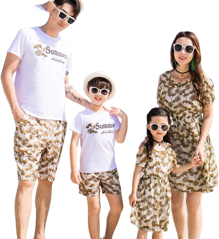 DAHDXD Familie ausgestattet Sommer Paar Strandkleid Baumwolle Kurzarm Druck T-Shirt Anzug Mutter Tochter Kleider Familie passend
