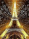 DIY diamante bordado Torre Eiffel pintura de diamantes redondo escénico mosaico de diamantes decoración del hogar pintura de diamantes A2 45x60cm