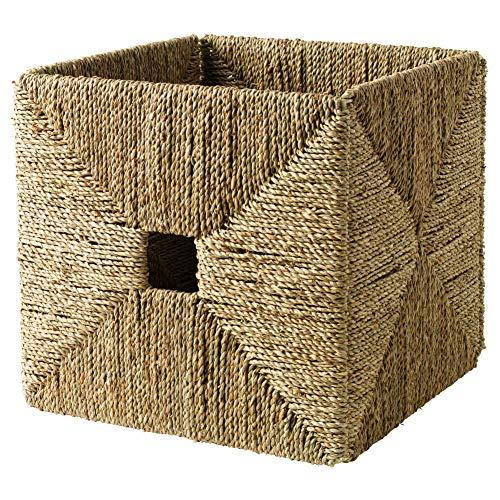 "Ikea KNIPSA Basket (Seagrass) 201.105.40, 12.5"" Width x 13"" Depth x 12.5"" Height (32 cm Width x 33 cm Depth x 32 cm Height)"