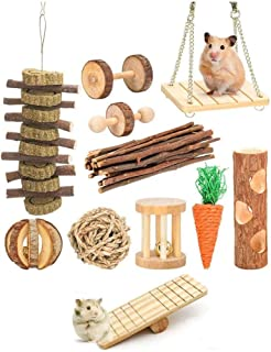 FOUUA 11 Pack Guinea Pig Toys, Natural Apple Wood Rabbit Rat Bunny Chinchillas Hamster Chew Toys Treats,Wooden Hamsters Ex...