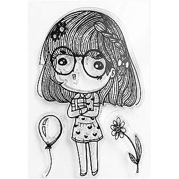 Ycncixwd Happy Bee Blume Silikon Clear Seal Stempel DIY Scrapbooking Pr/ägung Foto Album Deko Papier Karte Handarbeit Geschenk