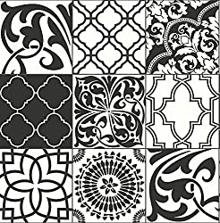 NextWall Graphic Tile Peel and Stick Wallpaper. (Black & White)