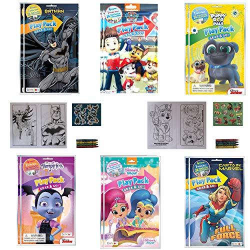 (12 PACK) Grab & Go Play Packs Kids Coloring Books With Crayons Party Favor Bulk for Boys Girls Princess Superhero Cartoon Characters Bulk activity books for kids Coloring Packs Bundle