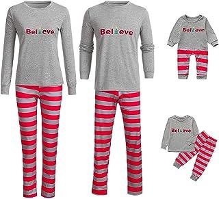 Conjunto de Pijamas de la Familia - Papá Mamá Niño Bebé Trajes de Ropa de Dormir a Rayas de Pijama de Navidad Otoño Invierno Pijamas Dos Piezas Familiares de Navidad Casual Chándal Suéter