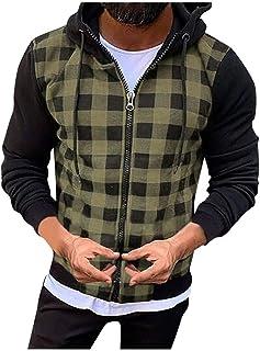Outtop(TM) Coat for Men,Lastest Outwear Jacket,Man Plaid Patchwork Hood Sweatshirt Causal Long Sleeve Shirt Coat Zipper Ja...