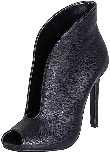 Bottines Femme en véritable Cuir Noir Made in  Talon 10cm Ouvertes en Pointe mpn35 01