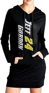 Womens Jeff-gordon #24 Raceway Logo Hoodie Black Long Sleeve Sweatshirt Dress With Pocket