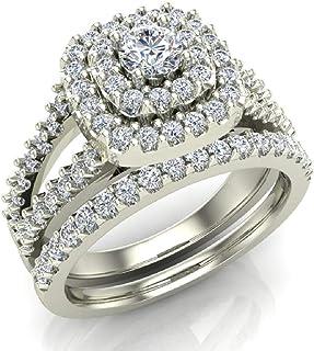 Cushion Shape Wedding Rings Set Diamond Bridal Sets Double Halo Style 1.10 ctw (G, SI)