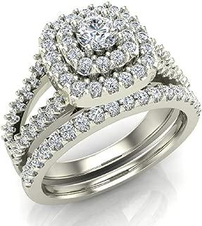 Cushion Shape Wedding Rings Set Diamond Bridal Sets Double Halo Style 1.10 ctw