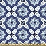 ABAKUHAUS Azul Tela por Metro, Azulejo Portuguès Tradicional Mosaico Estilo Vintage Patrón Floral,...
