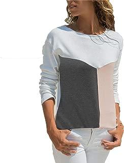 Color Block Patchwork Blouse Women Long Sleeve Blouses Female Loose Blouses