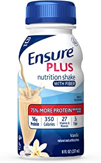 Ensure Plus Nutrition Shake With Fiber, 24 Count, With 16 Grams of High-Quality Protein, Meal Replacement Shake, Vanilla, ...