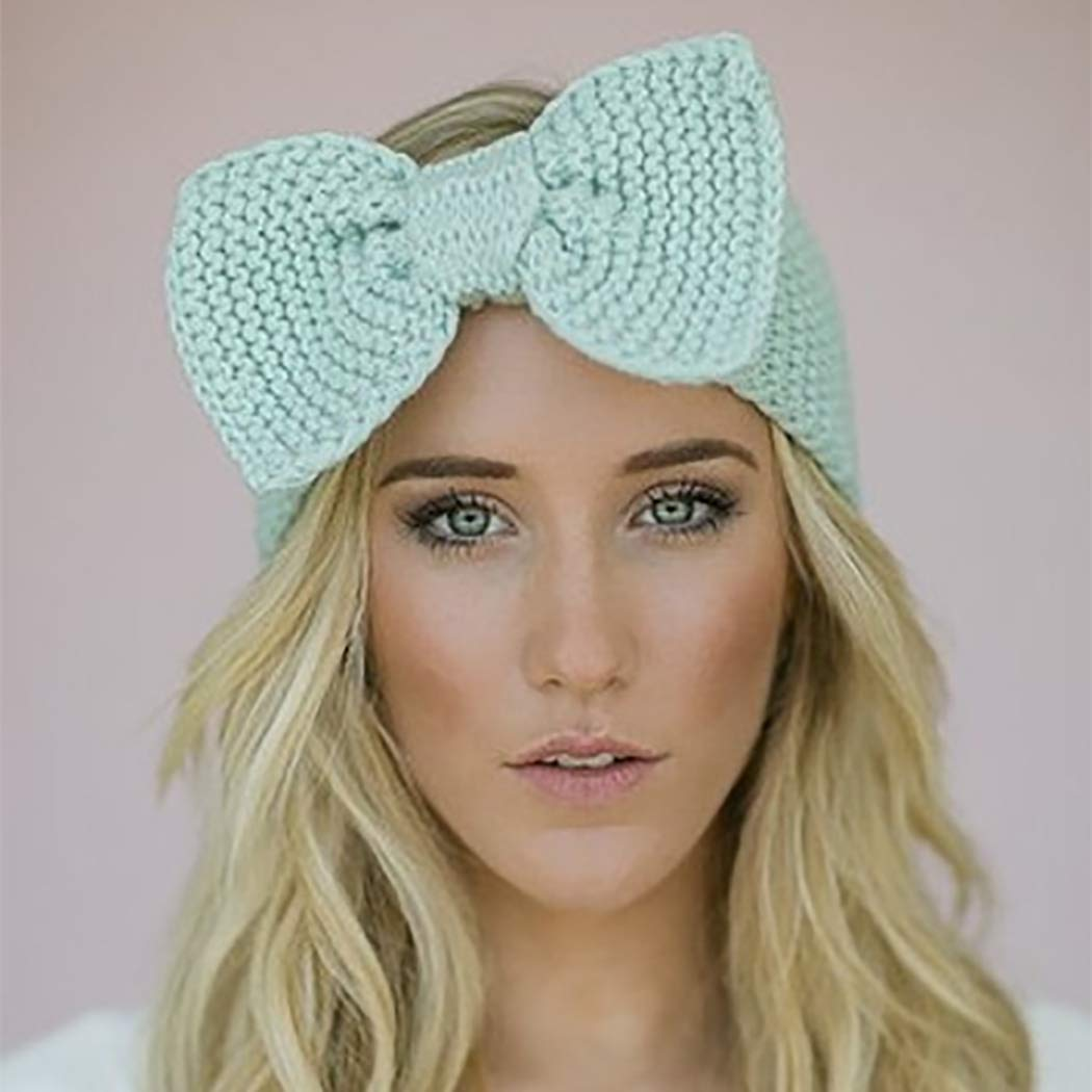 Abien Bow Winter Warm Headband Cable Crochet Ear Warmers Hair Band Fuzzy Knit Soft Stretchy Head Wrap for Women and Girls (Blue)