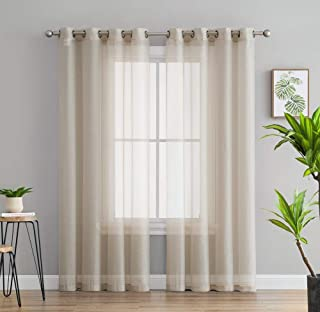 HLC.ME 2 Piece Semi Sheer Voile Window Treatment Curtain Grommet Panels for Bedroom & Living Room (54