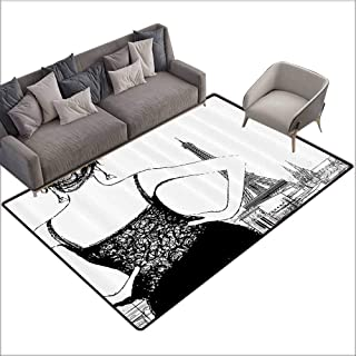 Front Mat Home Decorative Carpet Colorful Apartment Decor Collection,Young Woman Looking to The Eiffel Tower Feminine Featured Urban Scenery Sketchy Image,Black White 80″x 120″,Bath Rugs for Bathroom