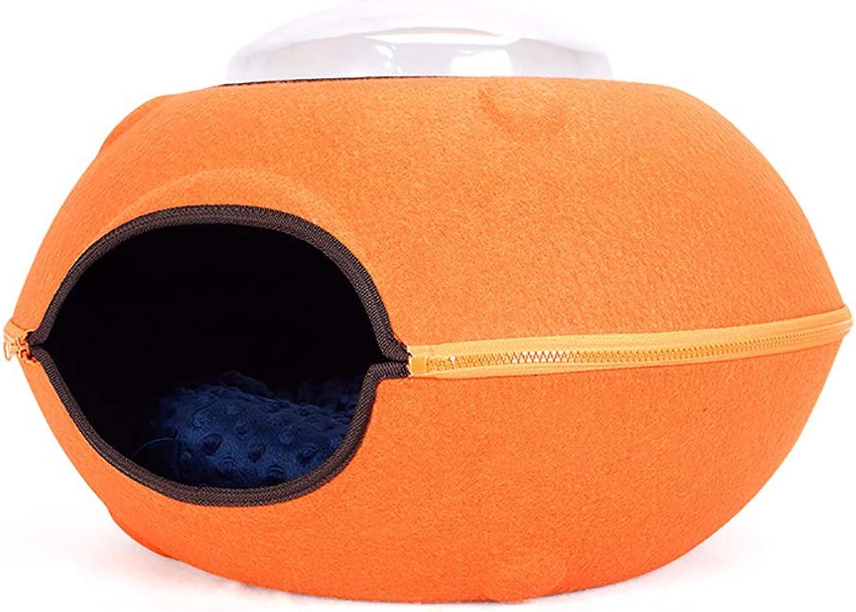 EcoFriendly Felt Cat Cave Bed Creative Flying Saucer Felt Cat Nest Detachable Design Suitable for Cats Within 7KG 15 Pounds,orange