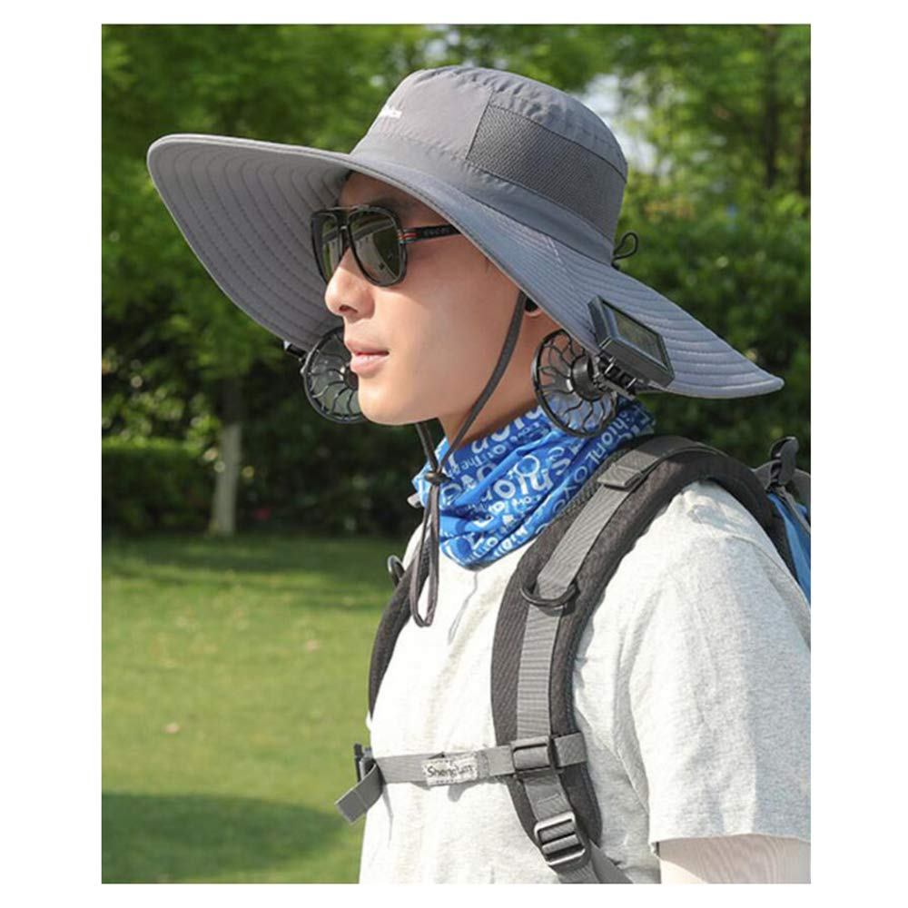 ANHPI-Hat Gorras Deportivas Tapa De Ventilador Solar Doble Verano De Verano Protector Solar Anti-UV Grandes Aleros Sombra Transpirable Sombrero De Pescador,8 Colores,E: Amazon.es: Jardín