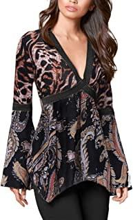 WM & MW Women Tunic Shirt Flare Sleeves V- Neck Vintage Peacock Printed Loose Casual Blouse Tops T-Shirt