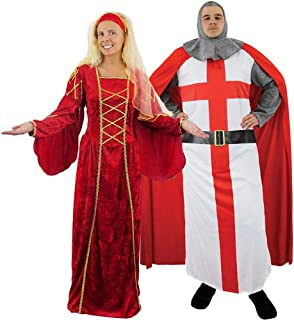 ILOVEFANCYDRESS MEN & LADIES MEDIEVAL KNIGHT & QUEEN COUPLES FANCY DRESS COSTUMES - RENAISSANCE TUDOR QUEEN DRESS + ST. GEORGES ENGLISH ROYAL KNIGHT WARRIOR - COUPLES COSTUMES BY IN SIZES SMALL - XL