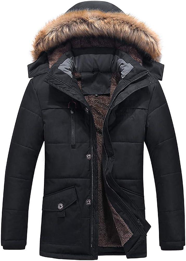 DIOMOR Fashion Outdoor Plus Size Fur Hooded Fleece Warm Lined Down Coat for Men Thicken Snow Jacket Parkas Windbreaker