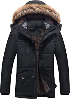 15d53e980dd HKDGID Mens Winter Warm Military Jacket Coats Faux Fur Lined Solid Blouse  Overcoat Outwear with Hood