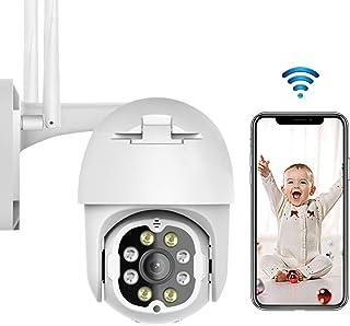 PTZ Camara Vigilancia Camara WiFi Exterior Impermeable IP66 con Audio de Dos Vías Visión Nocturna en Color Detección de MovimientoAI Alarma 355° Pan/90° Tilt