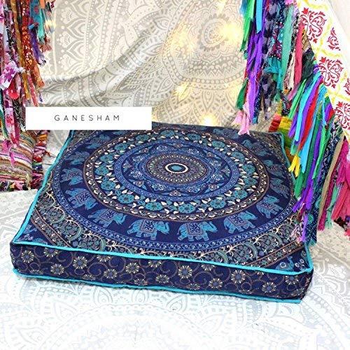 indischer Hippie Bohemian Tapisserie Sitzkissen Pouf Hundebett Boho-Dekor Handgefertigter Pouf Ottoman Boho-Bodenkissen Mandala Baumwolle Kissenbezug