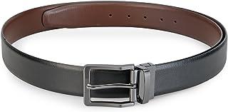 Teakwood Genuine Leather Formal Casual Reversible Belts For Men (Black and Brown)