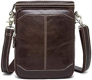 Mens Bag First Layer Leather Zipper Messenger Bag Men's Leather Men's Shoulder Bag High capacity