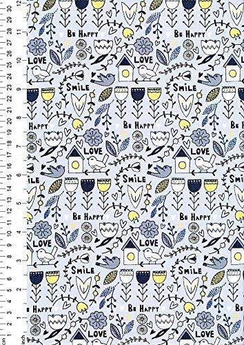 1/2 metro – azul – alta calidad 100% algodón Scandi diseño flora pájaros casa floral lindo corazones azul amarillo blanco acolchado patchwork costura artes y manualidades 112 cm de ancho
