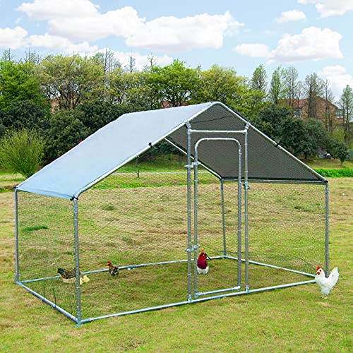 Large Metal Chicken Coop Walk-in Poultry Cage Hen Run House Rabbits Habitat Cage Spire Shaped Coop with Waterproof and Anti-Ultraviolet Cover for Outdoor Backyard Farm Use (10' L x 6.2' W x 6.4' H)
