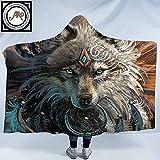 Wolf Warrior por SunimaArt Manta con Capucha Wolf Plush Wele para Adultos o...